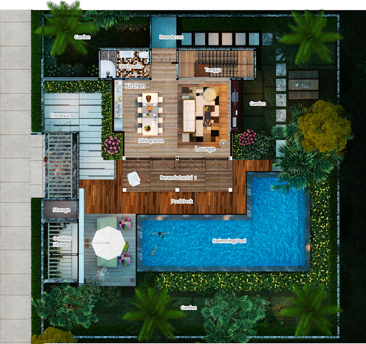 Lumbung Villas Ruang Keluarga Tropis Oleh Skye Architect Tropis Kayu Wood effect