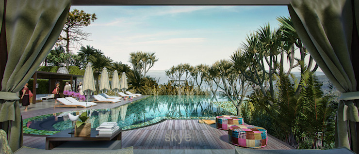 Pool Views Hotel Tropis Oleh Skye Architect Tropis Keramik