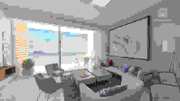 Condominios residenciales Grupo Arsciniest Salones de estilo minimalista Hormigón Blanco