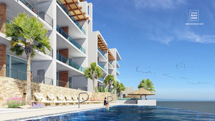 Condominios residenciales Grupo Arsciniest Piscinas infinitas Hormigón reforzado Blanco
