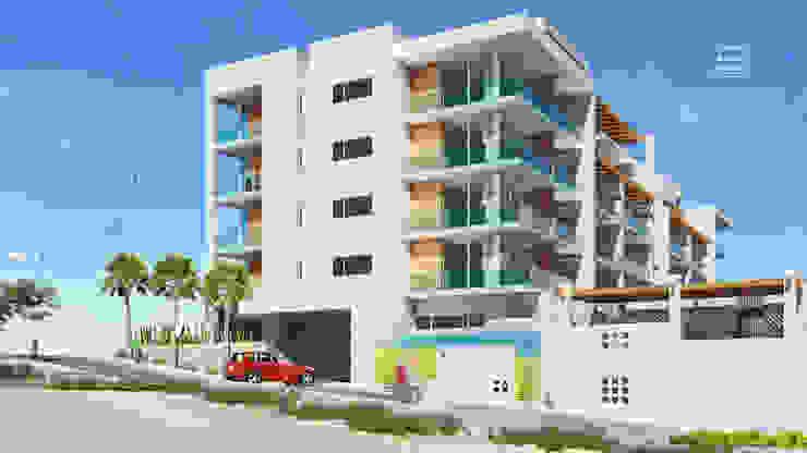 Condominios residenciales Grupo Arsciniest Puertas de garaje Hormigón Blanco