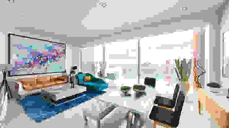 Condominios residenciales Grupo Arsciniest Comedores de estilo minimalista Hormigón Blanco