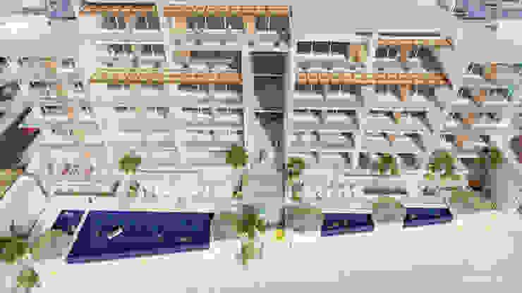 Condominios residenciales Grupo Arsciniest Balcones y terrazas de estilo minimalista Hormigón Blanco