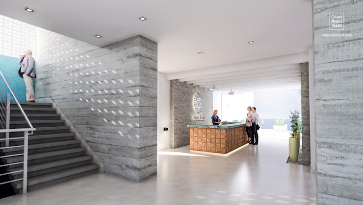 Condominios residenciales Grupo Arsciniest Pasillos, vestíbulos y escaleras de estilo minimalista Hormigón Blanco