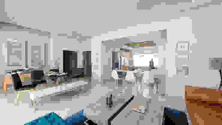 Condominios residenciales Grupo Arsciniest Cocinas de estilo minimalista Hormigón Blanco