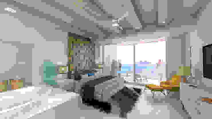 Condominios residenciales Grupo Arsciniest Dormitorios de estilo minimalista Hormigón Blanco
