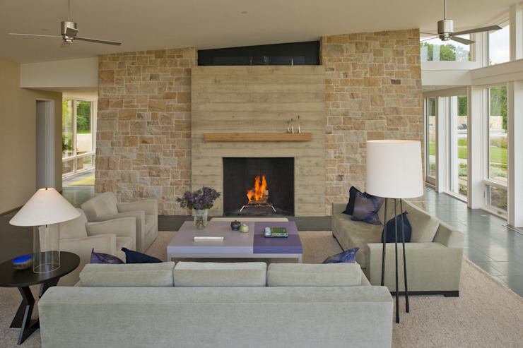 Green Building Features Abound in Bluemont, Virginia Custom Home BOWA - Design Build Experts Modern living room