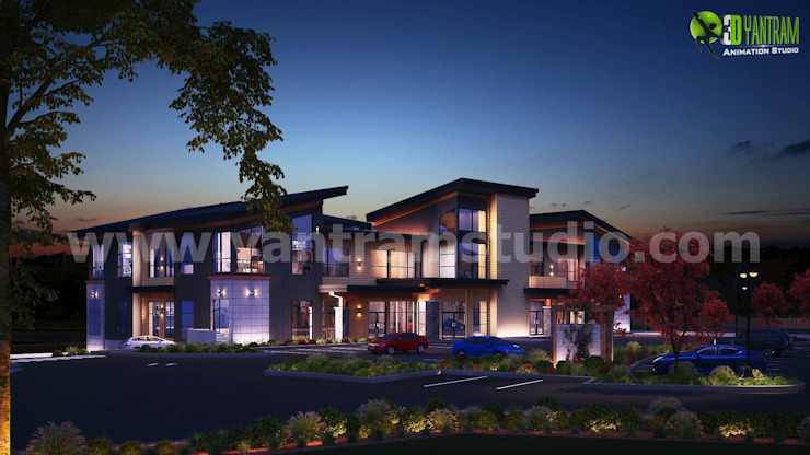 Commercial 3d exterior rendering services Night by Yantram Architectural Design Studio Modern Ceramic
