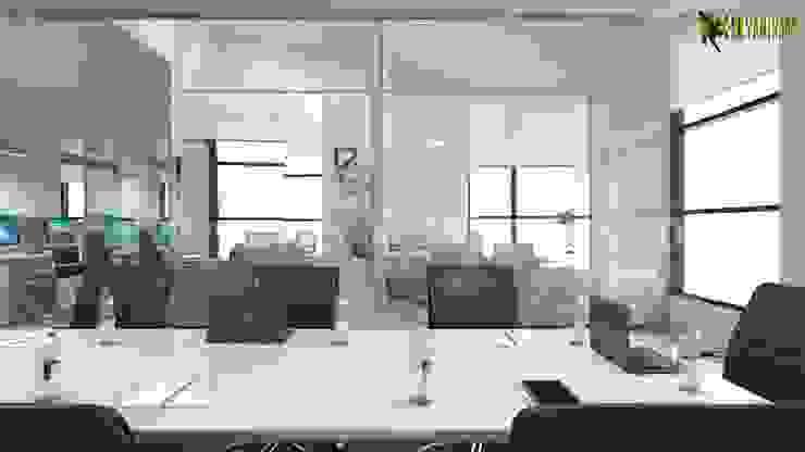 Commercial 3d interior rendering design Conference area by Yantram Architectural Design Studio Modern Ceramic