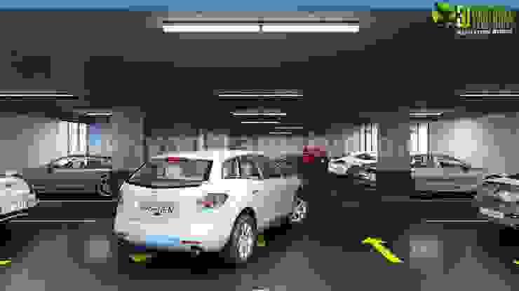 Commercial 3d underground parking interior rendering design ideas by Yantram Architectural Design Studio Modern Ceramic