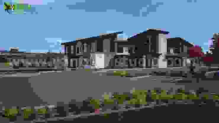 Commercial exterior building concept design ideas by Yantram Architectural Design Studio Modern Ceramic