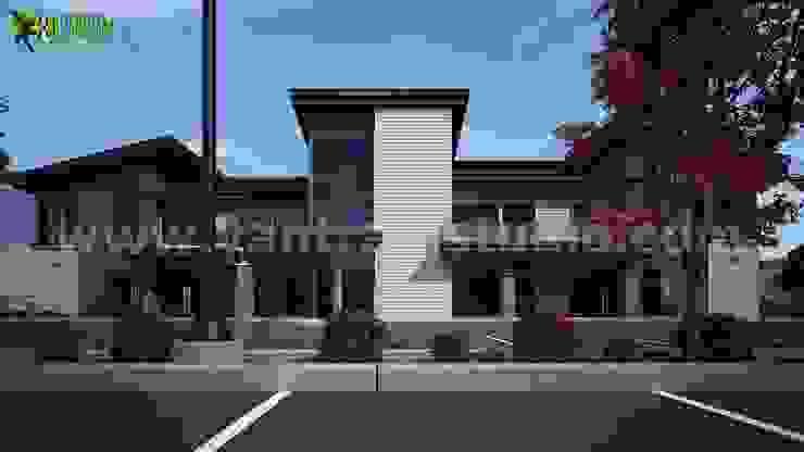 Exterior building front elevation design ideas by Yantram Architectural Design Studio Modern Ceramic