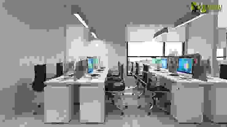 Office 3d interior rendering modern employee area design ideas by Yantram Architectural Design Studio Modern Ceramic