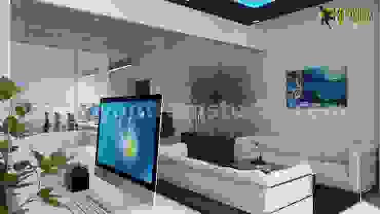 Office 3d interior rendering unique Reception area design by Yantram Architectural Design Studio Modern Ceramic