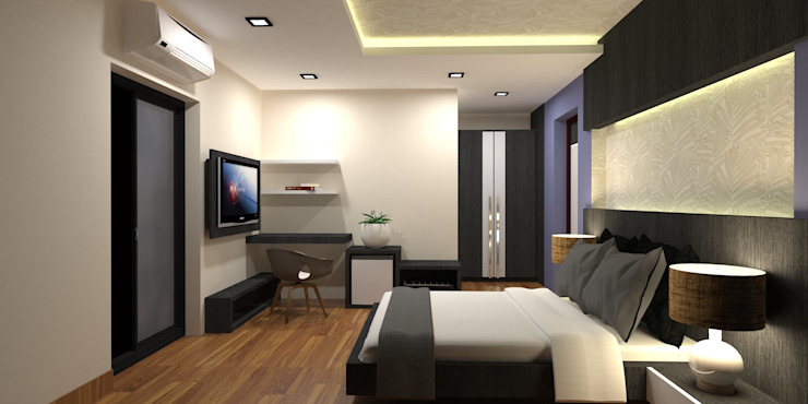 INTERIOR DESIGN OF HOTEL ROOMS by RED PAPER DESIGNERS PVT. LTD.