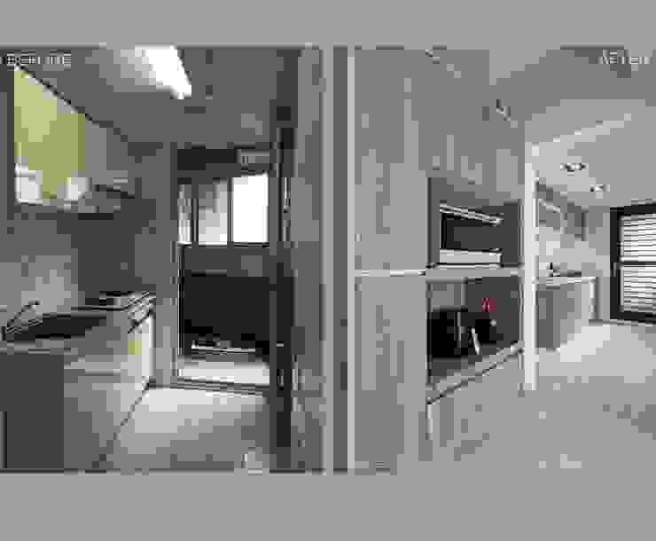 築川設計 Sala da pranzo moderna