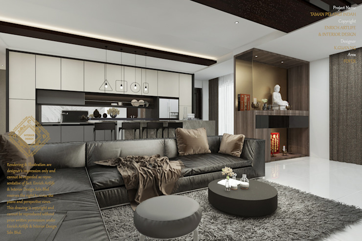 Luxurious living room by Enrich Artlife & Interior Design Sdn Bhd Modern