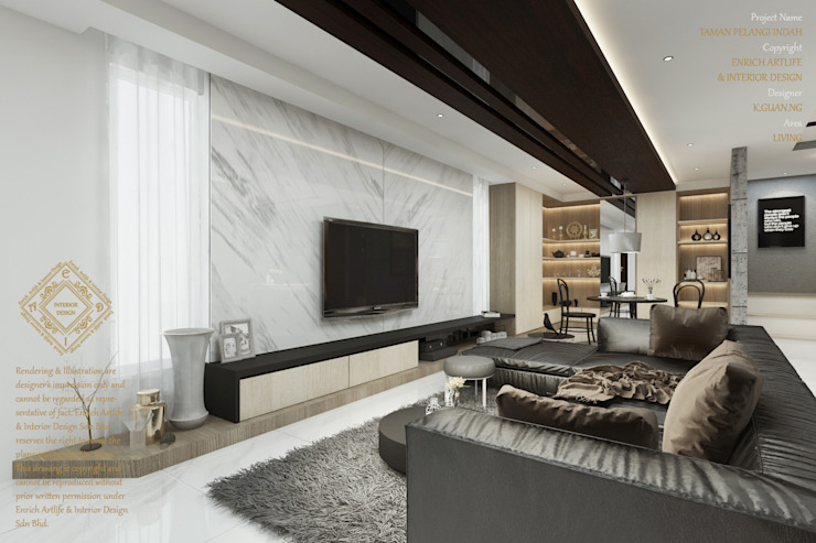 Modern living room with TV racking by Enrich Artlife & Interior Design Sdn Bhd Modern