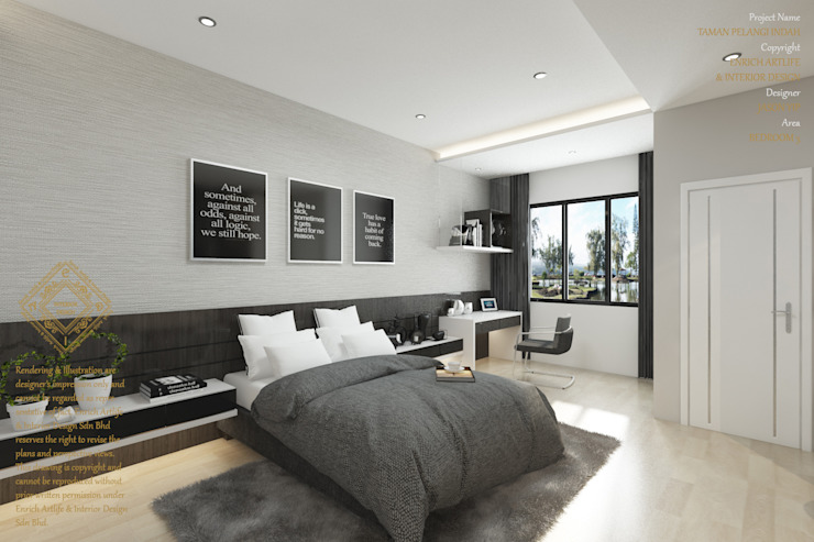 Double Storey House Corner Lot In Pelangi Indah Modern style bedroom by Enrich Artlife & Interior Design Sdn Bhd Modern