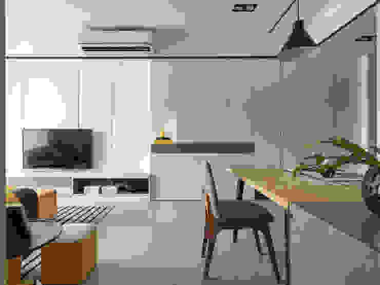 玄關&電視牆 现代客厅設計點子、靈感 & 圖片 根據 存果空間設計有限公司 現代風