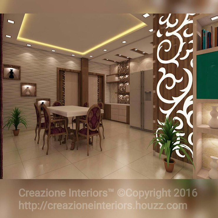 3 BHK Flat Decoration At Avidipta Apartment, Kolkata EM Bypass. Modern Dining Room by Creazione Interiors Modern