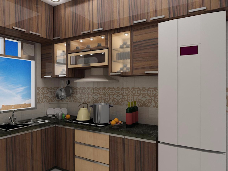 3 BHK Flat Decoration At Avidipta Apartment, Kolkata EM Bypass. Modern Kitchen by Creazione Interiors Modern