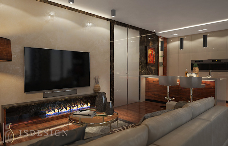 ISDesign group s.r.o. Eclectic style living room Marble