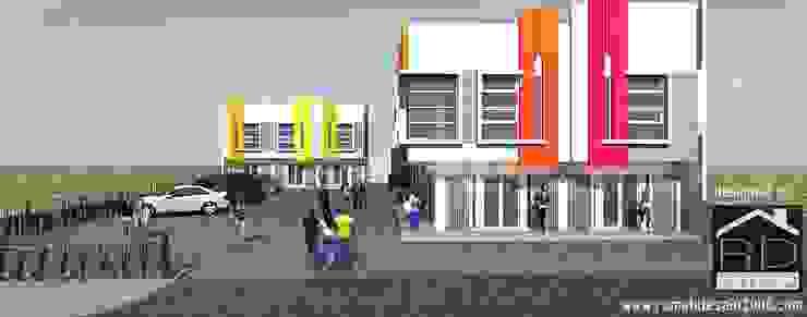 Tampak depan ruko minimalis 2 lantai Kantor & Toko Minimalis Oleh Rumah Desain 2000 Minimalis Beton Bertulang