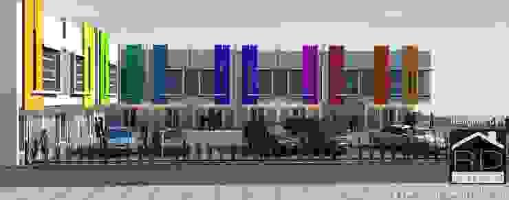 Tampak samping ruko 2 lantai Kantor & Toko Minimalis Oleh Rumah Desain 2000 Minimalis Beton Bertulang