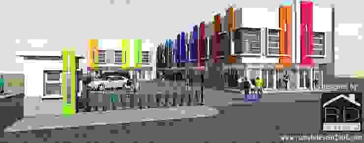 Tampak perspektif ruko 2 lantai Kantor & Toko Minimalis Oleh Rumah Desain 2000 Minimalis Beton Bertulang