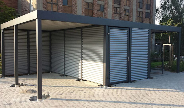 Garajes de estilo  por Carport-Schmiede GmbH & Co. KG - Hersteller für Metallcarports und Stahlcarports