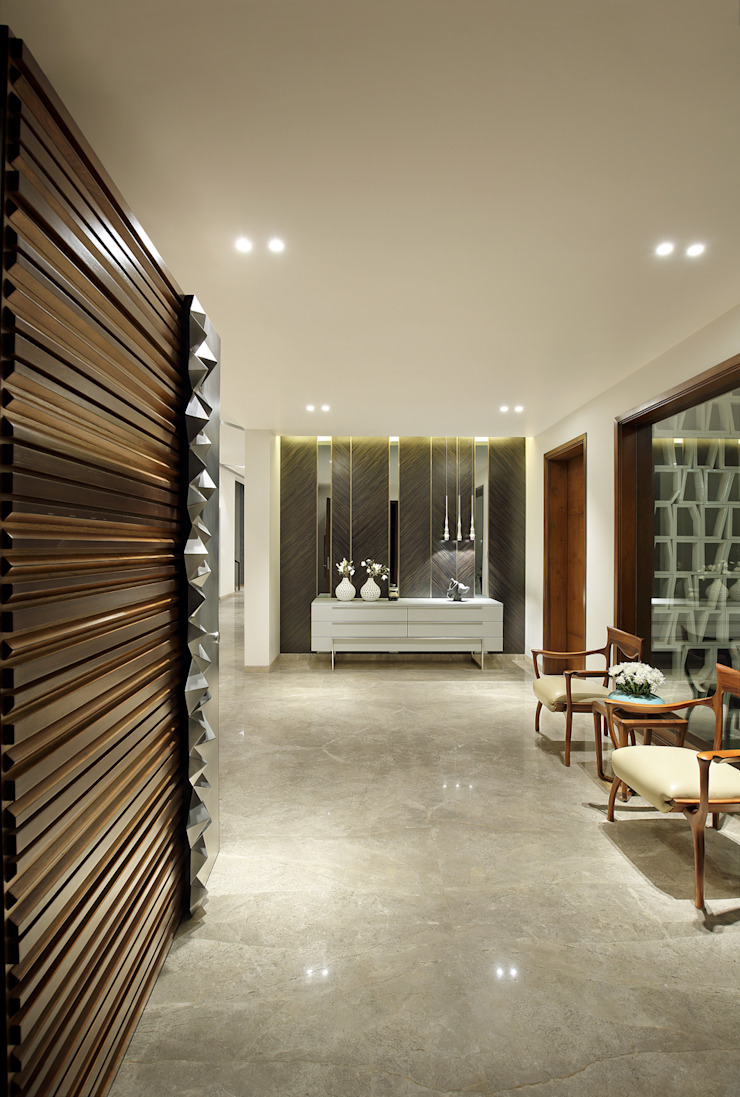 kabir bungalow Modern corridor, hallway & stairs by USINE STUDIO Modern