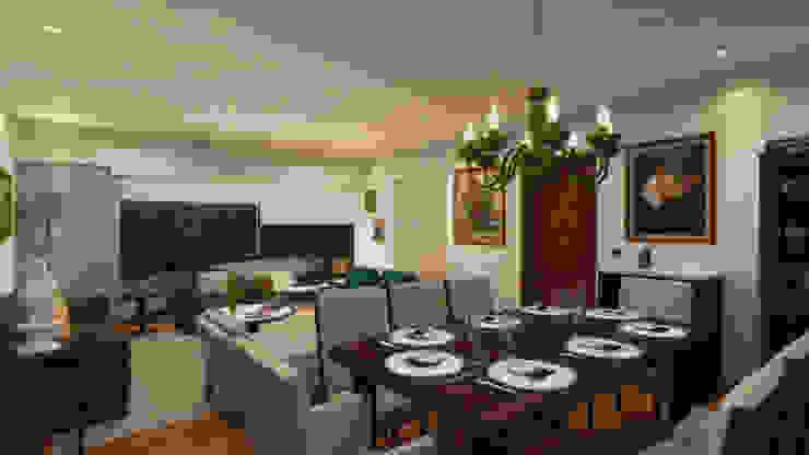 Sala Comedor y Terraza Salones de estilo ecléctico de Priscila Meza Marrero Ecléctico Madera Acabado en madera