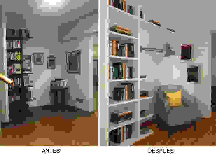 Recibidor/Zona de Lectura - Antes y Después Salones de estilo ecléctico de Priscila Meza Marrero Ecléctico Madera Acabado en madera