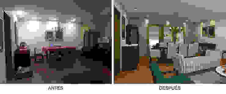 Sala Comedor - Antes y Después Comedores de estilo ecléctico de Priscila Meza Marrero Ecléctico Madera Acabado en madera