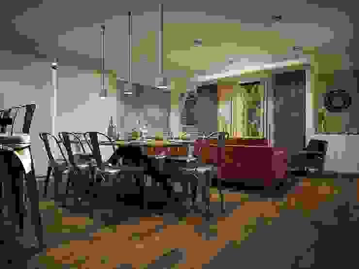 Diseño de área sala-comedor: Comedores de estilo  por Zono Interieur
