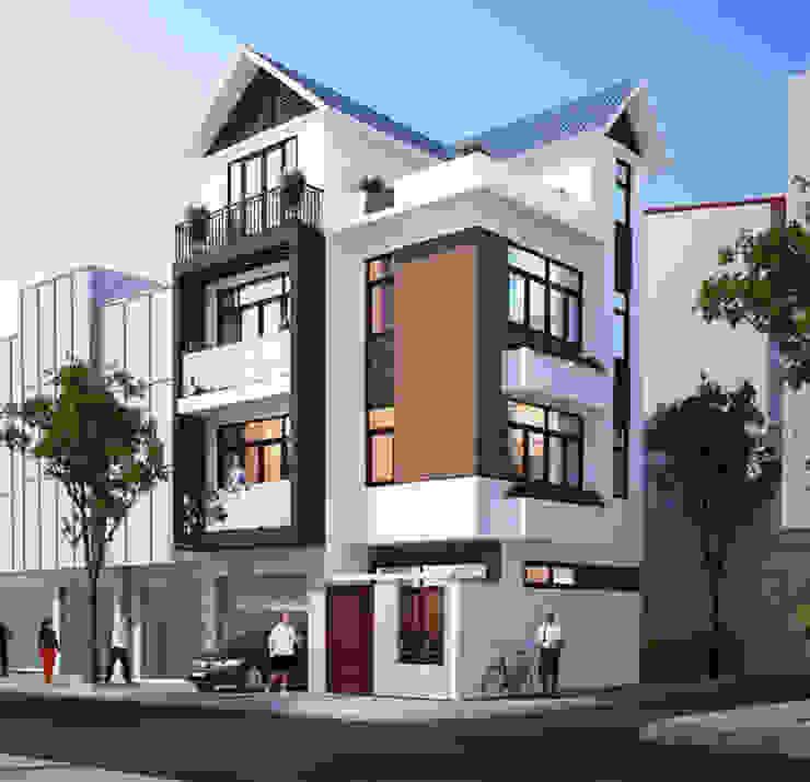 Thiết kế nhà phố 4 tầng 2 mặt tiền đẹp chất ngất: hiện đại  by Văn phòng kiến trúc Ktshanoi, Hiện đại