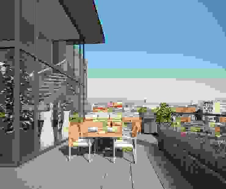 Havenmeester appartementen Moderne balkons, veranda's en terrassen van Archipelontwerpers Modern