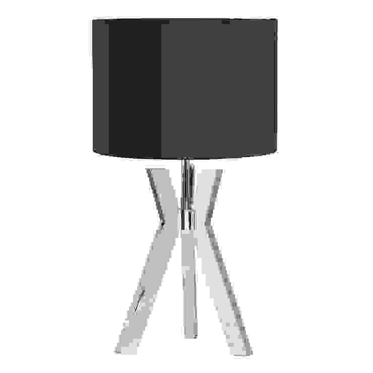 Metal Tripod 1 Light Table Lamp with Blue Shade - Chrome Litecraft SoggiornoIlluminazione
