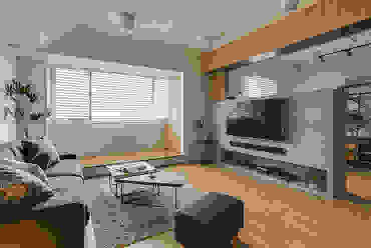 Living room by 御見設計企業有限公司, Minimalist Concrete