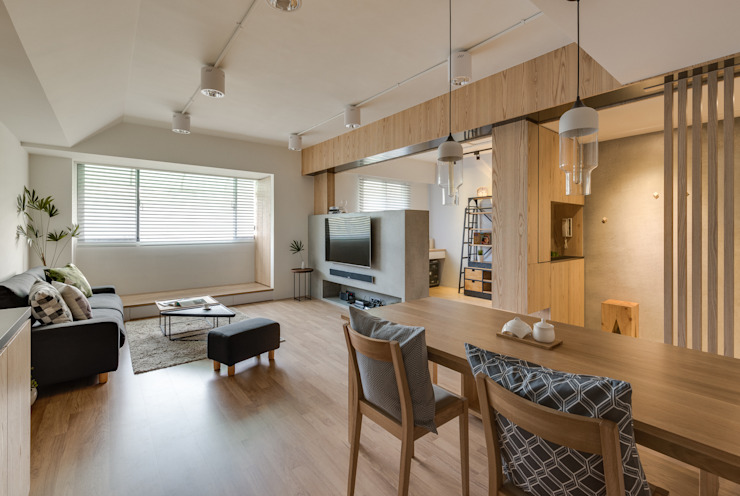 客餐廳及開放式工作室 根據 御見設計企業有限公司 簡約風 木頭 Wood effect