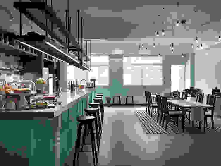 料理區的規劃設計: 不拘一格  by 一水一木設計工作室, 隨意取材風