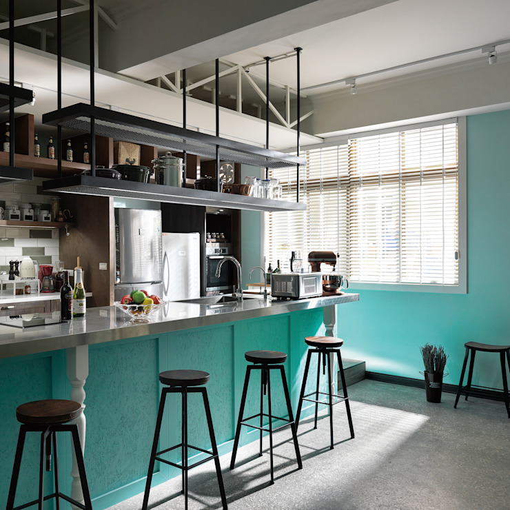 陽光無限美好下的用餐區設計 根據 一水一木設計工作室 隨意取材風 鐵/鋼