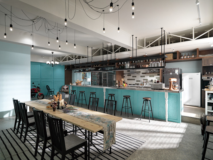 陽光 空氣 水 完全減壓的用餐地區 根據 一水一木設計工作室 隨意取材風 鐵/鋼