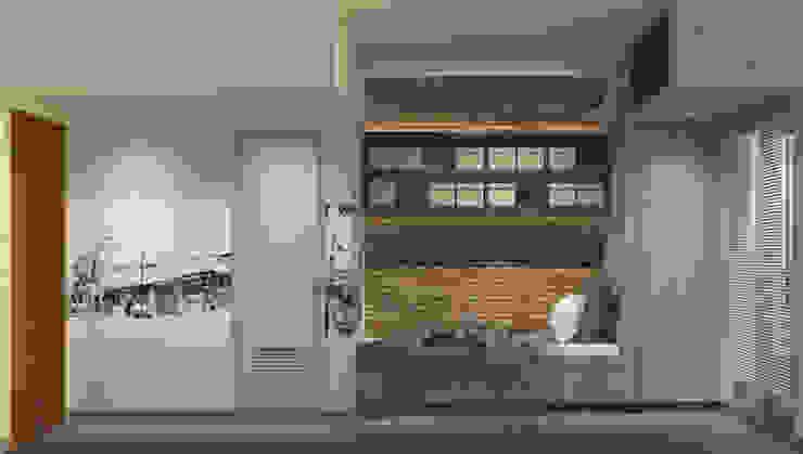 Show Unit - Type A (18 m2) - View 2 Kamar Tidur Gaya Skandinavia Oleh studio tektonik Skandinavia Kayu Wood effect