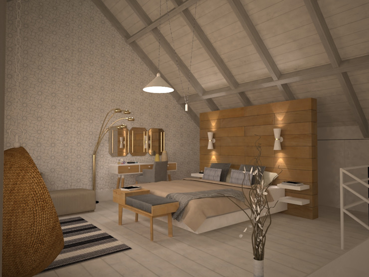 Vanity with golden mirrors and lamp Scandinavian style bedroom by homify Scandinavian Wood Wood effect