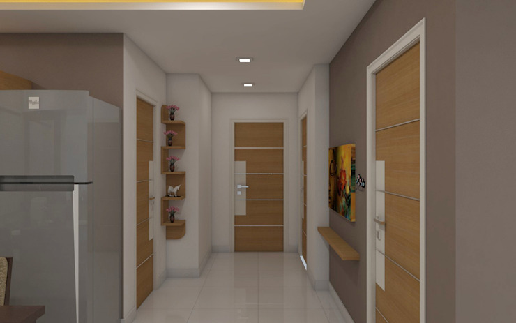 shree lalitha consultants Asian style corridor, hallway & stairs Plywood Wood effect