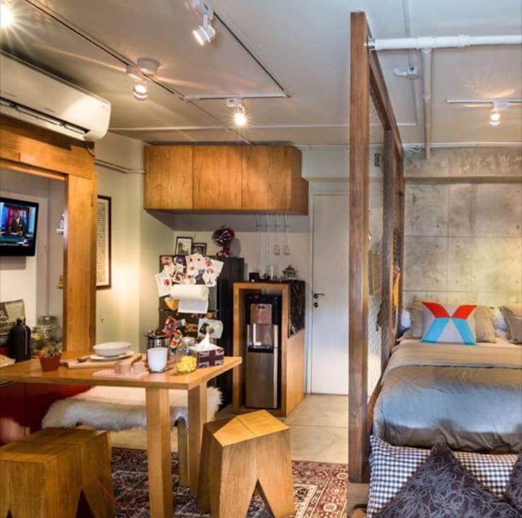 Industrial London inspired apartment Dinding & Lantai Gaya Industrial Oleh SATTVA square Industrial