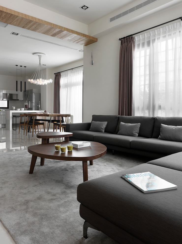 C House 现代客厅設計點子、靈感 & 圖片 根據 夏沐森山設計整合 現代風