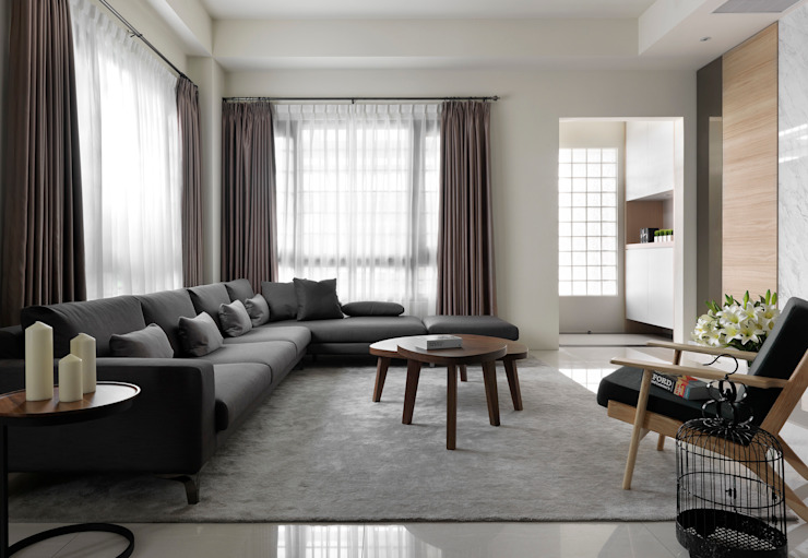 غرفة المعيشة تنفيذ 夏沐森山設計整合, حداثي